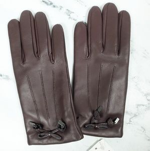 Coach Tea Rose Bow Brown Leather Gloves